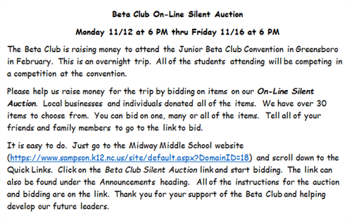 beta club silent auction information