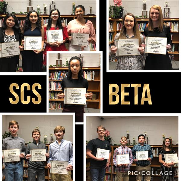 Middle and high school students were recognized by the Board for winning and placing in various competitions at the State Beta Convention.