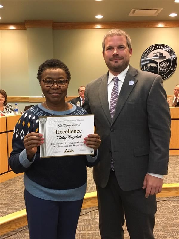 "Hobbton High Teacher Recognized as ""Shining Star"" for the EC Department"