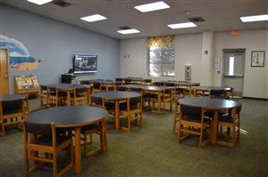 picture of library classroom with Smart TV